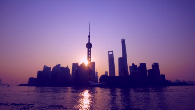 WS TL sunrise over Shanghai skyline, China