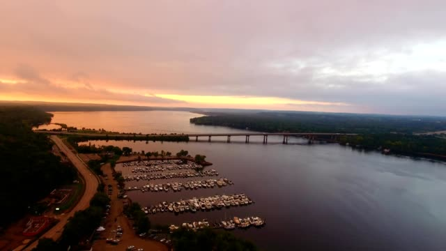 Sunrise over St. Croix river and I-94 between WI and MN