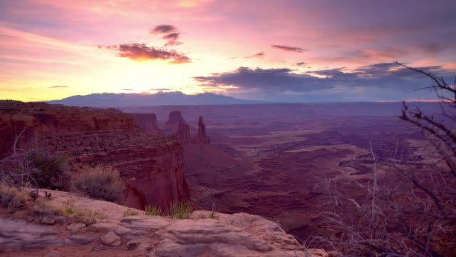 ds sunrise over the canyonlands national park - rock formation stock videos & royalty-free footage