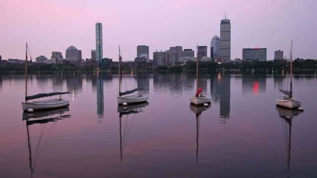 sunrise over the charles river - back bay boston stock videos & royalty-free footage