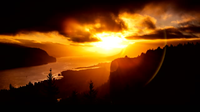 sunrise over the columbia river gorge - ravine stock videos & royalty-free footage