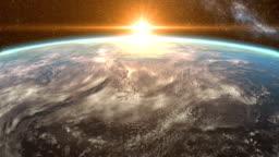 Sunrise over the Earth and Fall into the Sea