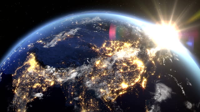 sunrise over the earth seen from space.close up of china - asia zone.with night time and sunrise 4k. - south asia stock videos & royalty-free footage