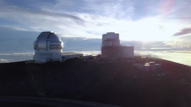 sunrise over the gemini north telescope of mauna kea astronomical observatory, hawaii. usa - hawaii islands stock videos & royalty-free footage