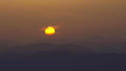 sunrise over the mountain - satoyama scenery stock videos & royalty-free footage