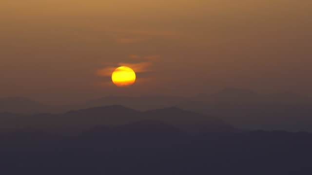 sunrise over the mountain - satoyama scenery stock videos & royalty-free footage