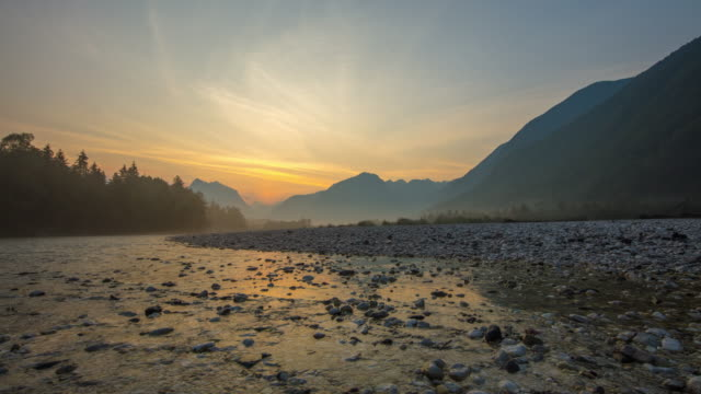 t/l sunrise over the soca river - valley stock videos & royalty-free footage
