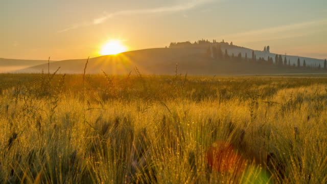 T/L Sunrise over the Tuscany countryside
