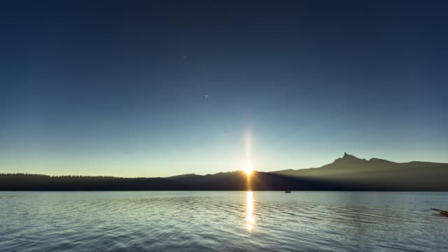 sunrise over tranquil lake - time lapse - sun moon lake stock videos and b-roll footage