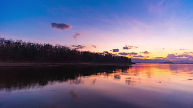 sunrise over tropical lake, dawn to day time lapse video - dawn to day stock videos & royalty-free footage