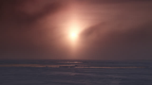 sunrise over tundra and sea ice, canada - clima polare video stock e b–roll