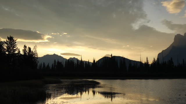 sunrise over vermillion lakes in banff national park. - alberta stock videos & royalty-free footage