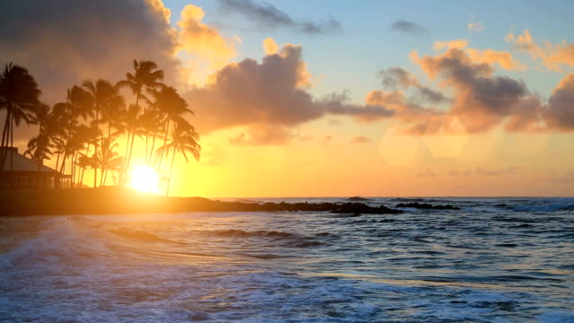 sunrise over water in kauai, hawaii - hawaii islands stock videos and b-roll footage