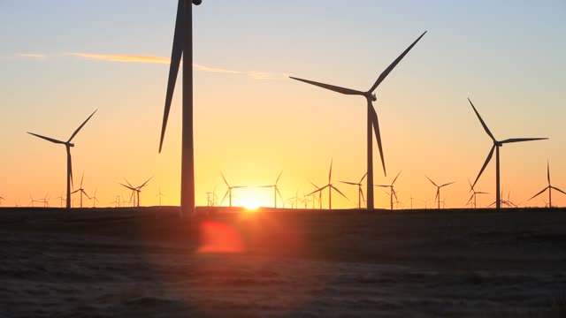sunrise over whitelee wind farm on eaglesham moor just south of glasgow in scotland, uk, is europes largest onshore wind farm with 140 turbines and an installed capacity of 322 mw, enough energy to power 180,000 homes. - industrial equipment stock videos & royalty-free footage