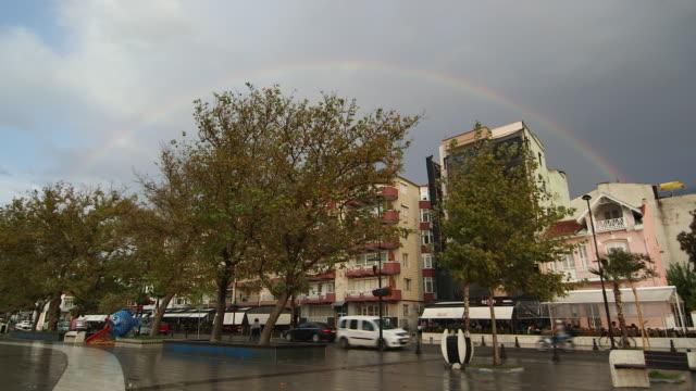 sunrise rainbow over istanbul - wiese video stock e b–roll