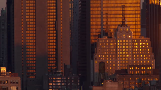 Sunrise Reflecting Off Buildings in the Manhattan Skyline