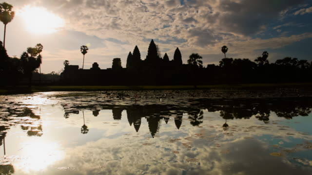 t/l, ws, zi, sunrise reflection angkor wat temple / siem reap, cambodia - cambodian culture stock videos and b-roll footage