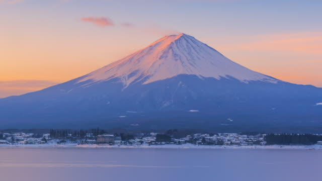 sunrise scene mountain fuji winter season, japan - mt fuji stock videos & royalty-free footage