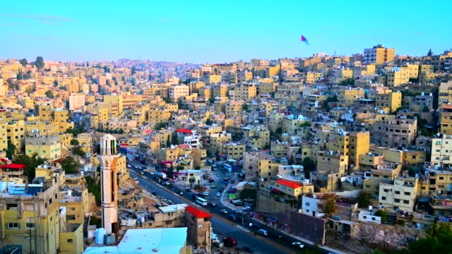 sunrise scene of amman city, jordan capital city - population explosion stock videos & royalty-free footage