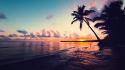 Sunrise sea view with cloudscape and tropical island beach. Punta Cana resort, Dominican Republic