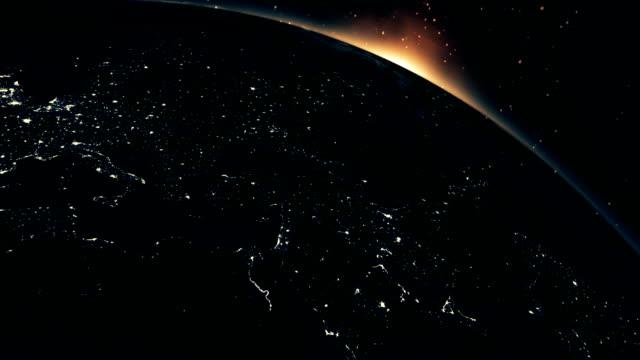 vídeos de stock, filmes e b-roll de nascer do sol visto da atmosfera da terra - cityscape