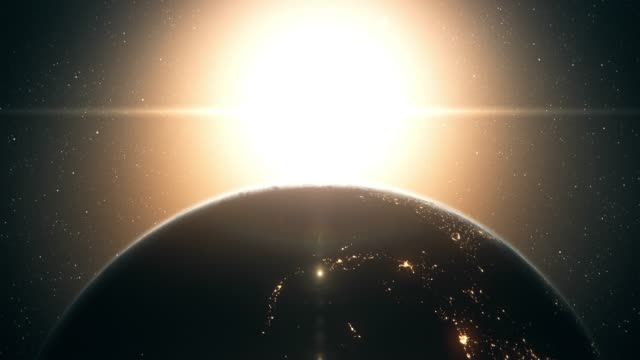 sunrise seen from outer space (close up, vertical movement) - cambiamento video stock e b–roll