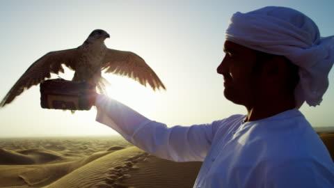 vídeos de stock, filmes e b-roll de sunrise silhouette arab falconer with bird of prey - qatar