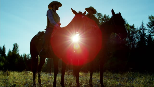 Sunrise silhouette cowboys riding horses in valley Canada