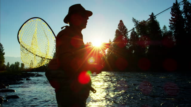sunrise silhouette fisherman fly fishing in freshwater river - netting stock videos & royalty-free footage