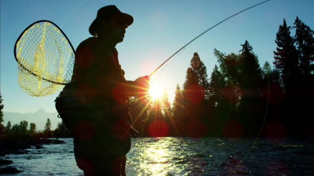 sunrise silhouette man with keep net fishing canada - orthopedic equipment stock videos & royalty-free footage