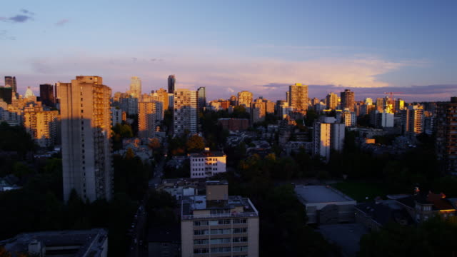 Sunrise skyline view city buildings in Vancouver Canada