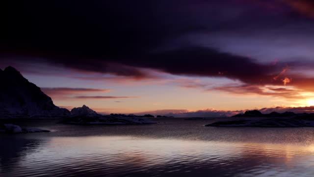 sunrise / sunset sea - nordland county stock videos & royalty-free footage