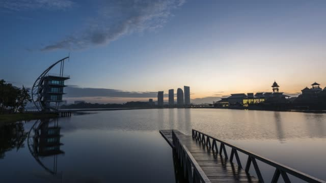 sunrise time lapse at putrajaya - putrajaya stock videos & royalty-free footage