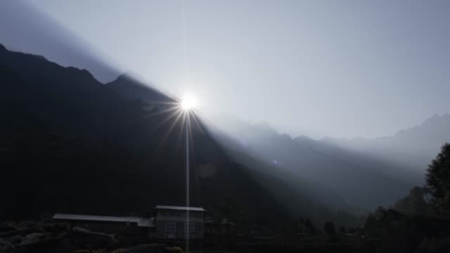 sunrise time lapse in nepal - khumbu stock videos and b-roll footage