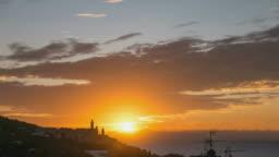 Sunrise time lapse, Mediterranean Sea, Cervo historical town, Liguria, Italy