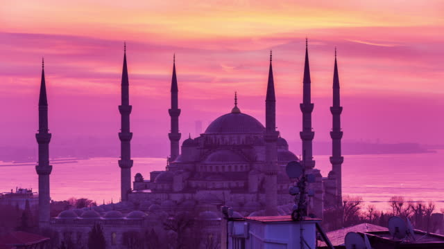 ISTANBUL - CIRCA 2014: Sunrise Time Lapse of the Blue Mosque with beautiful colours in Istanbul, Turkey