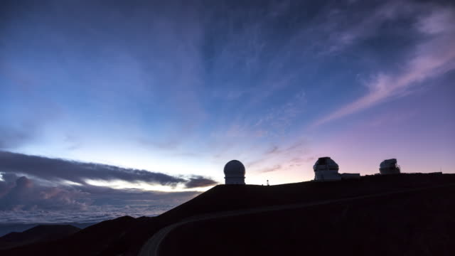 Sunrise time lapse over the Mauna Kea Astronomical Observatory, Hawaii. USA
