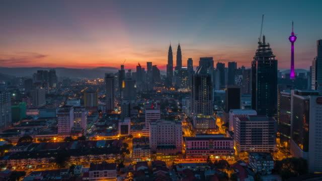 Sunrise Time Lapse overlooking Kuala Lumpur City. Camera pan bottom to top