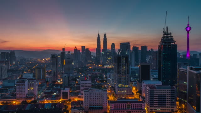 Sunrise Time Lapse overlooking Kuala Lumpur City. Camera pan right to left