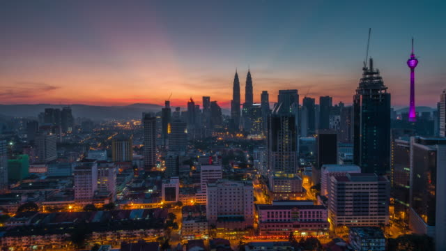 Sunrise Time Lapse overlooking Kuala Lumpur City. Camera zoom in.