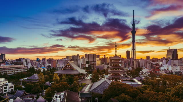 sunrise timelapse of asakusa city with dramatic skyline at dawn, tokyo, japan - kimono stock videos & royalty-free footage