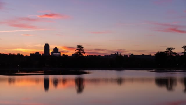 Sunrise Time-lapse of El Campo Park and Madrid Skyline