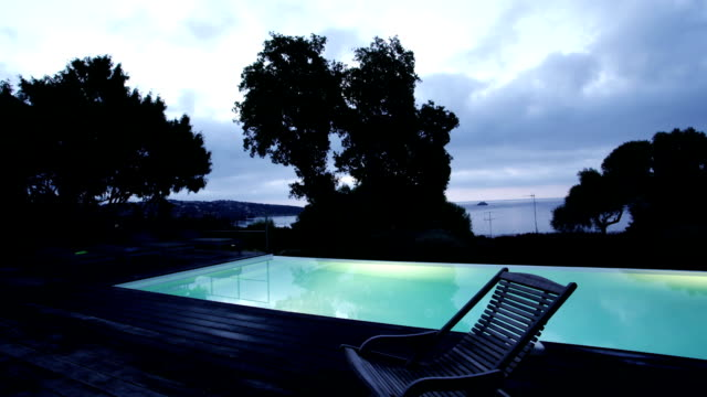 Sunrise Timelapse over Swimming Pool with zoomin