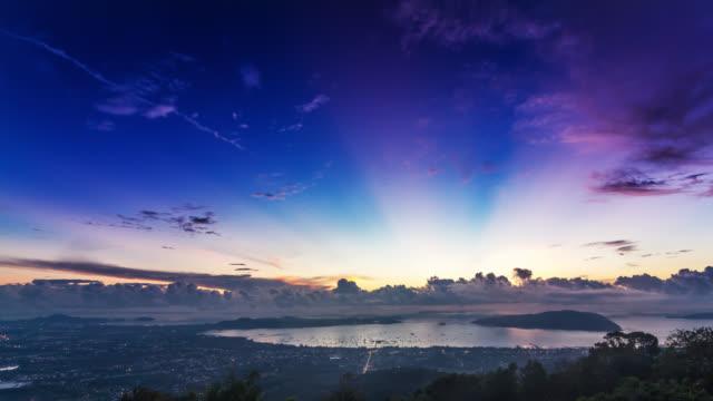 Sunrise timelapse over the Phuket Town skyline and the Andaman sea, Thailand 2016.