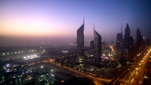 stockvideo's en b-roll-footage met dubai sunrise timelapse skyline - dageraad