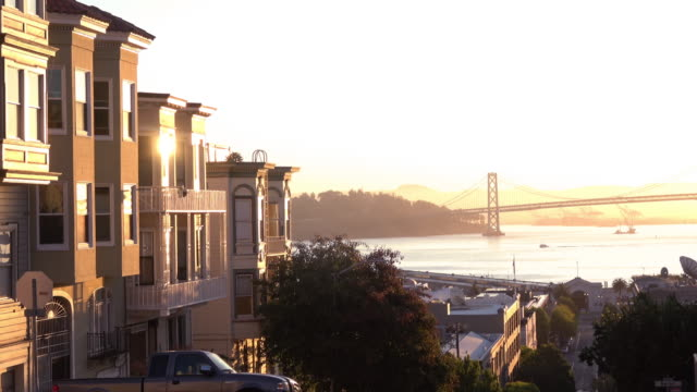 sunrise victorian homes with bay view - 19th century style stock videos and b-roll footage