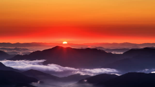 sunrise view at cheonmasan mountain (officially designated as a provincial park in korea) in gyeonggi-do - red cloud sky stock videos & royalty-free footage