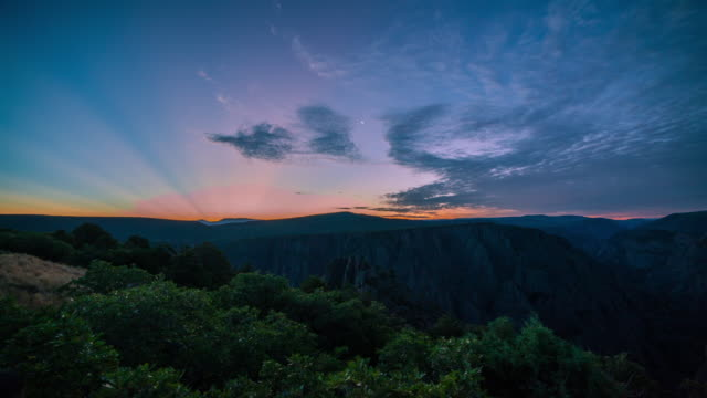 sunrise view of black canyon of the gunnison national park - gunnison stock videos & royalty-free footage