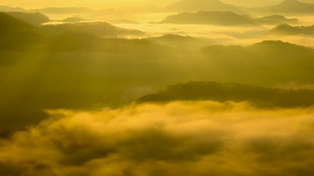 Sunrise view of cloud sea and mountain range at Okjeongho lake