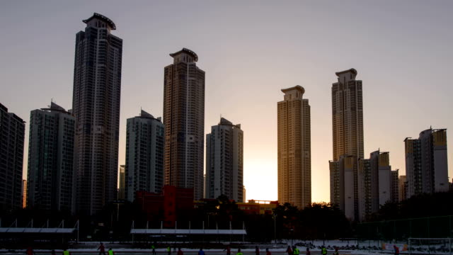 sunrise view of dongtan metapolis building(local landmark) - local landmark stock videos and b-roll footage